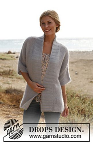 """Ravelry: 136-31 Blue Pearl - Jacket with seed st in """"BabyAlpaca Silk"""" and """"Kid-Silk"""" pattern by DROPS design"""