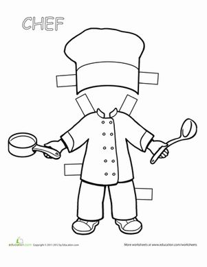 If your child loves to help out, or even just watch, in the kitchen, she'll love this paper doll.