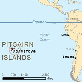 Location of the Pitcairn Islands relative to the west coastof South America.