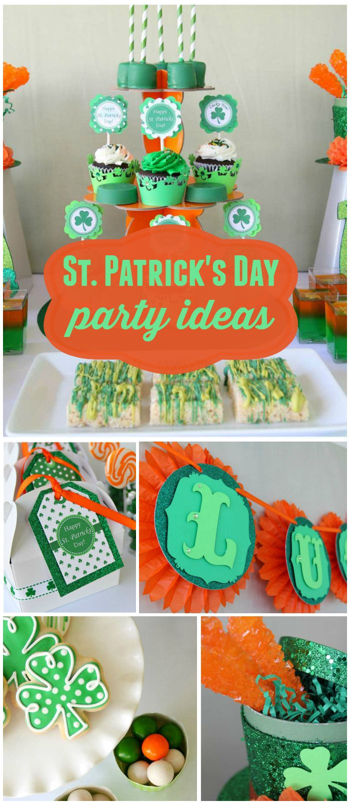 Such a fantastic St. Patrick's Day party! Shamrock cookies and cupcakes! See more party planning ideas at CatchMyParty.com!