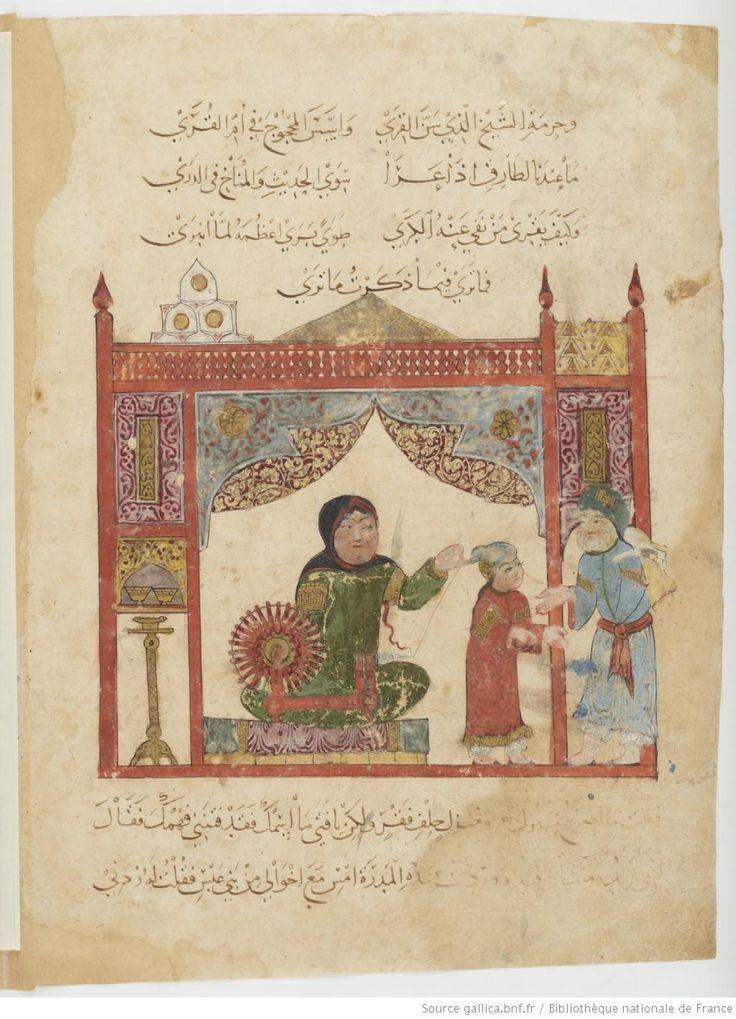Folio 13 Verso: maqama 05. Abu Zayd and his son