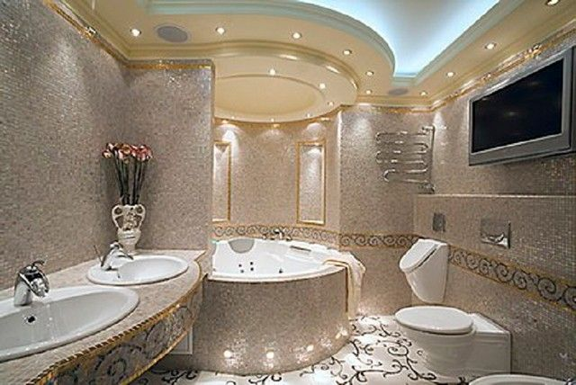 Cozy bathroom in Mediterranean style  #mosaic #home #bathroom #interior #naturalstone