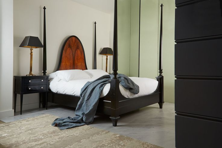 The Livorno is a statement four poster bed  with a dramatically curving headboard, delicate acorn shaped finials and beautiful hand-carved posts #luxurybeds #handmade simonhorn.com