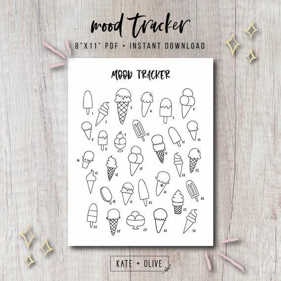 Mood Tracker Printable Bullet Journal Insert - Ice Cream