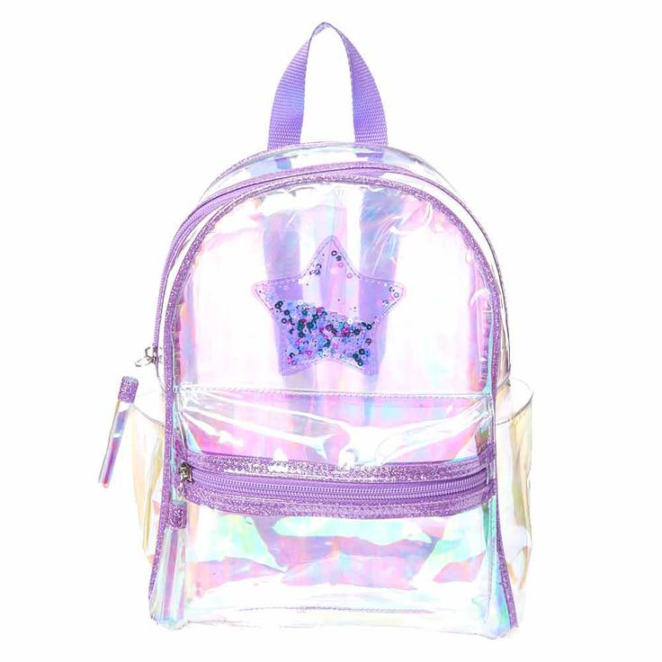 Purple Clear Shaker Backpack | Claire's US