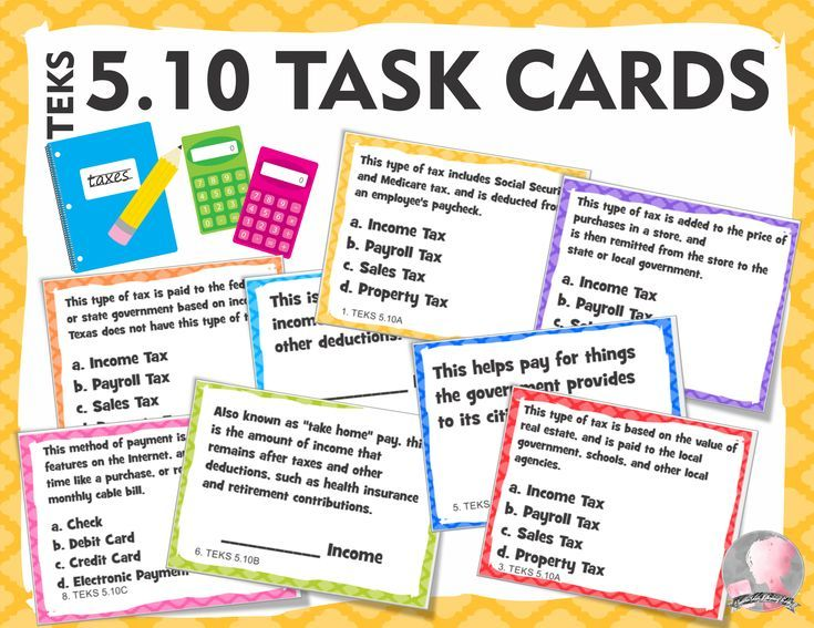 Personal Financial Literacy Texas Teks 5 10 25 Task Cards With