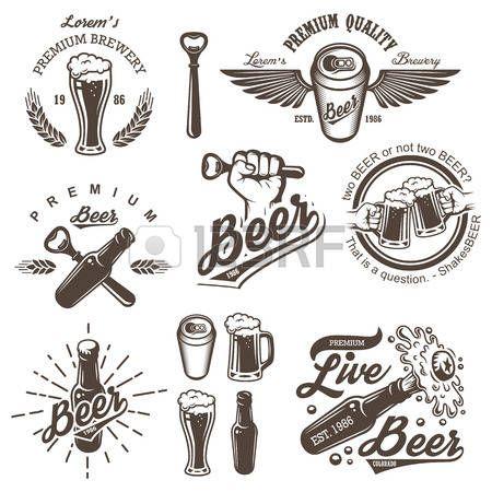 Set di emblemi d'epoca birra birreria, etichette, loghi, distintivi e elementi progettati. Stile in bianco e nero. Isolato su sfondo bianco photo