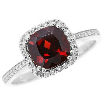 Red Garnet Diamond 14k White Gold Engagement Ring.. I've pretty much decided I would be really happy without a white diamond as the center for my engagement ring. Like, my birthstone looks beautiful haha.
