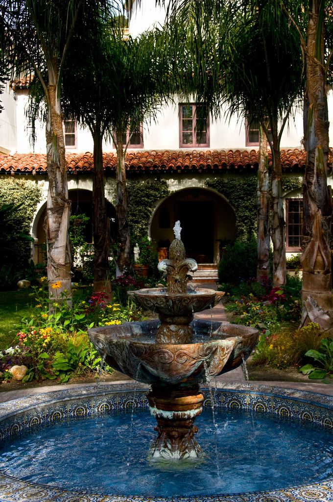Courtyard Fountain San Buenaventura Spanish Mission