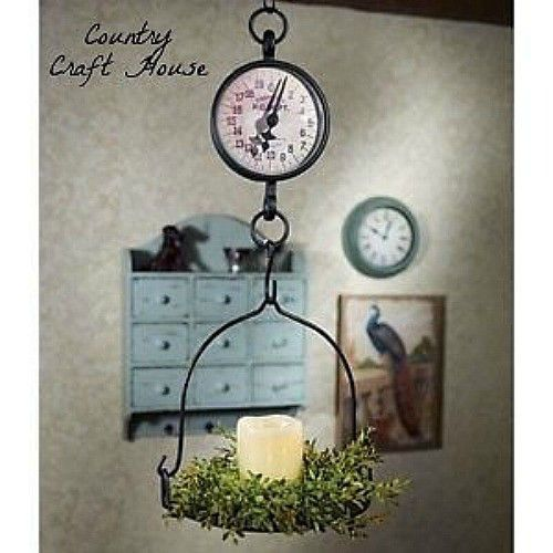 Primitive Country Farmhouse Vintage Antique Style WEIGHING SCALE Hanging Display
