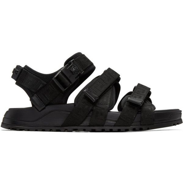 Versace Black Hiking Sandals (4,650 CNY) ❤ liked on Polyvore featuring men's fashion, men's shoes, men's sandals, black, mens leopard print shoes, mens black velcro shoes, mens velcro shoes, mens black sandals and mens velcro strap shoes