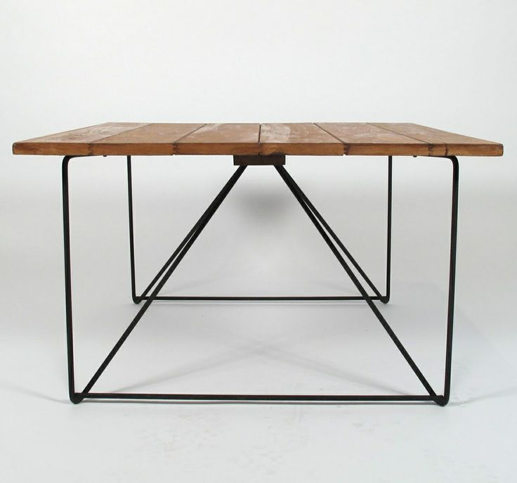 Luther Conover; Enameled Metal And Wood Table, 1950s.
