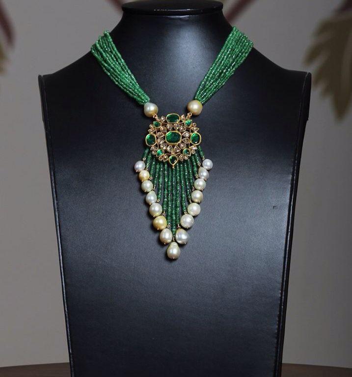 #pearl#emrald#kundan#necklace