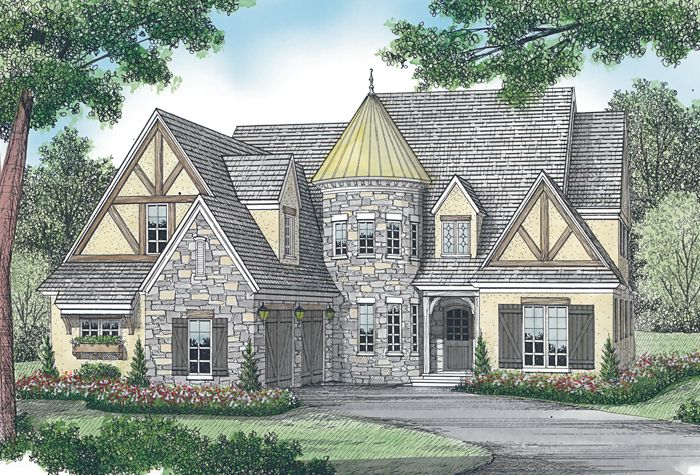 House Plan 3323 00454 Tudor Plan 4 455 Square Feet 4 Bedrooms 4 5 Bathrooms In 2020 Tudor House Tudor Style Homes Turret House
