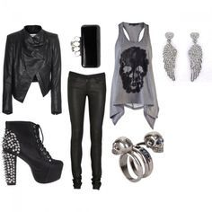 Wear this to a rock concert! Leather jacket, studded boots, skulls, black, fashio