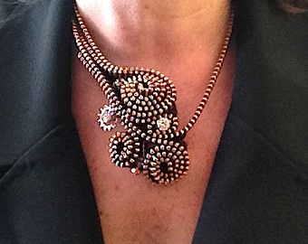 Collar de cremallera de cobre amarillo Mini de por ArtologieDesigns