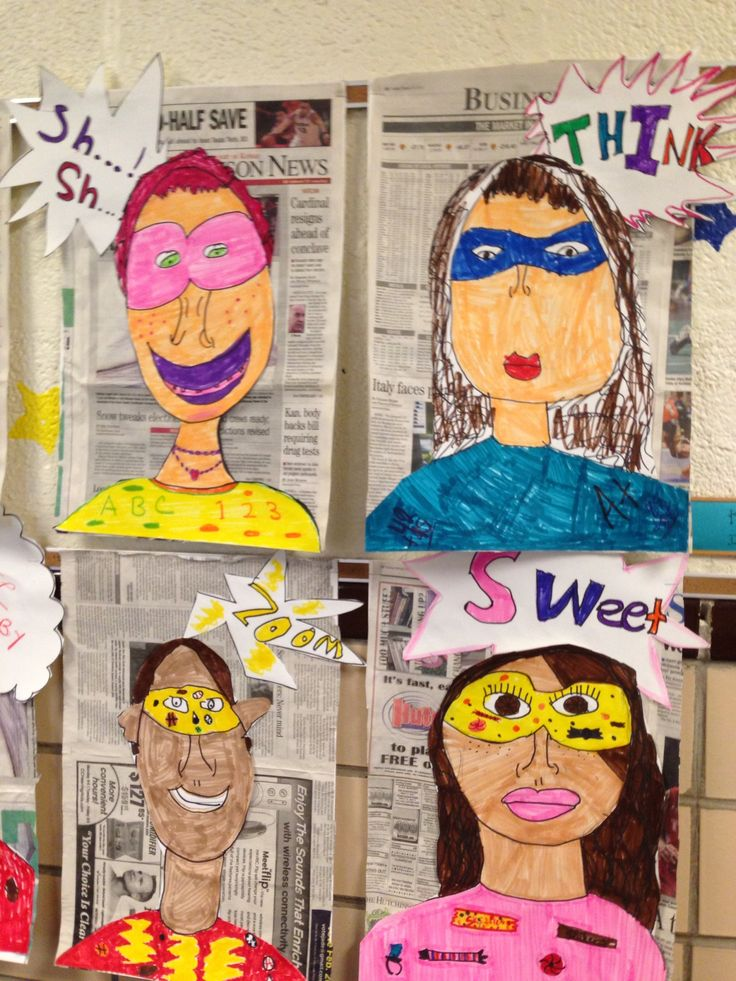Self portraits as super heroes....love!! They can make up their own superhero...writing activity