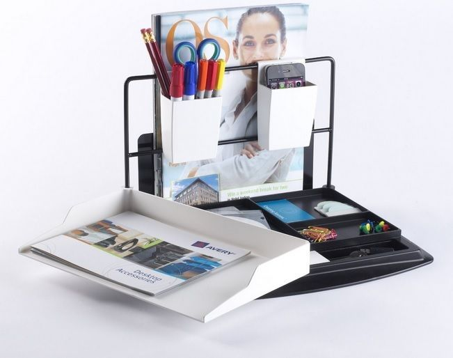 Comprises of letter tray, desk tidy, two (2) pen-pots & a magazine rack. Pen-pot holders double up as phone holder. Pivoting letter tray system with hidden storage. Adjustable magazine - document holder. | eBay!