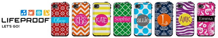 Monogrammed LifeProof Cases, Custom Phone Cases, Personalized Otterbox Cases, Custom iPhone 5c Cases.....love and want the pink one!