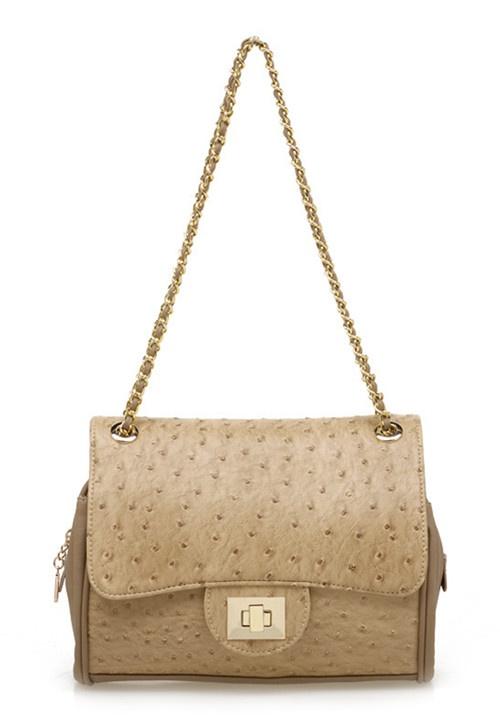 Beige Ostrich Chain Bag
