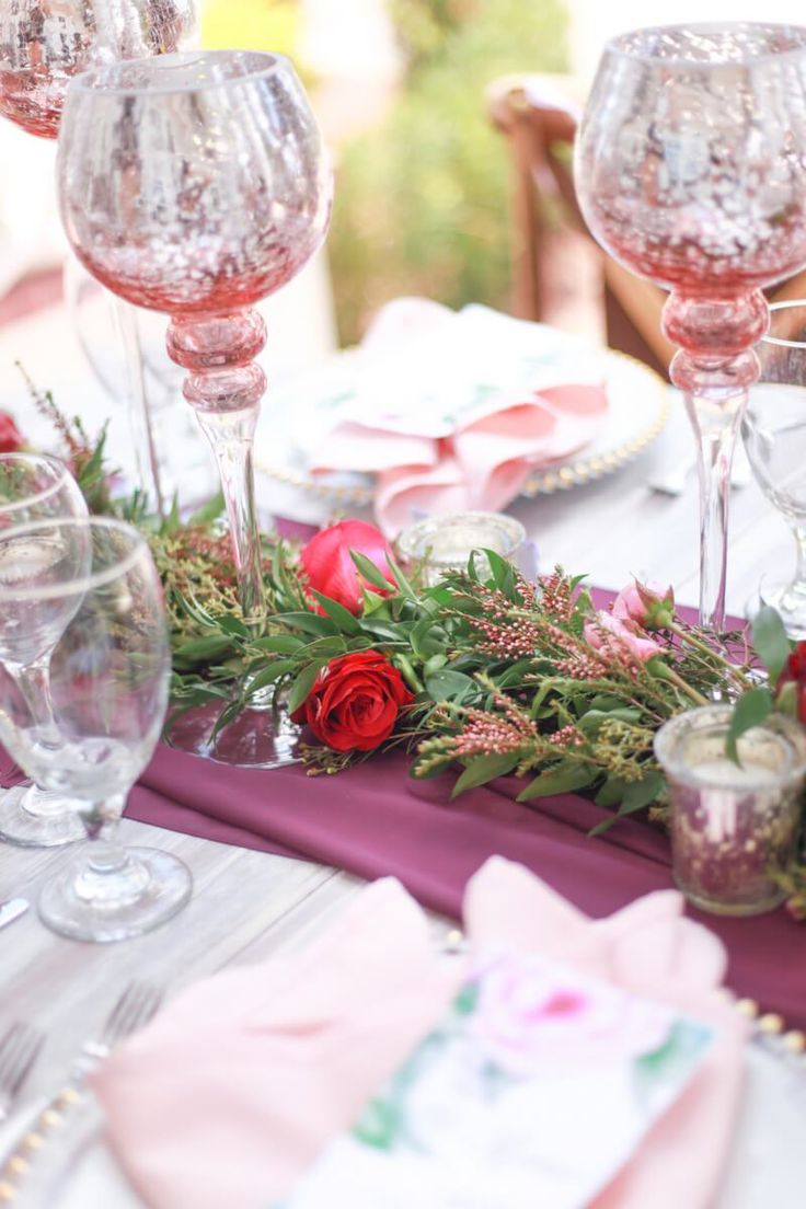 reception table setting from a berry hued wedding inspiration