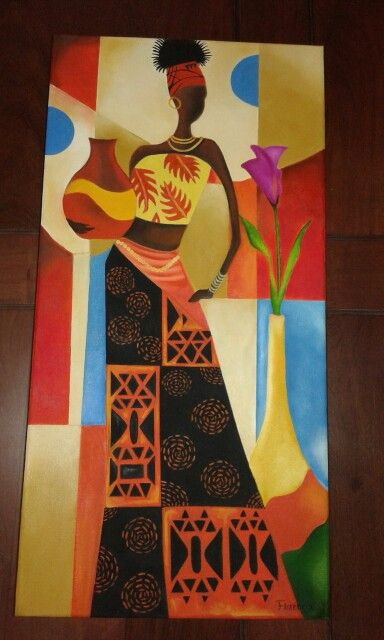 Africana pintada al óleo