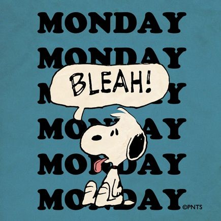 """Snoopy == Monday """"Bleah"""" >> Hoping ALL Our Pinterest Friends & Family Everywhere Have a BETTER Monday !!"""