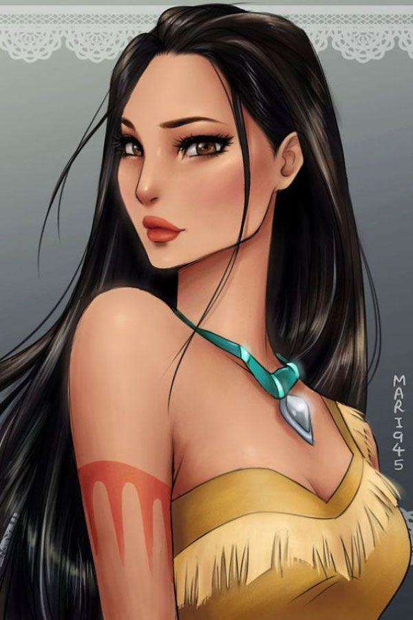 Las princesas disney dibujadas en modo anime: Pocahontas
