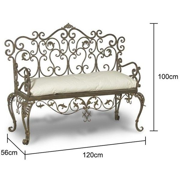 Wrought Iron Bench   Black ($420) ❤ Liked On Polyvore Featuring Home,  Outdoors, Patio Furniture, Outdoor Benches, Wrought Iron Garden Furniture,  Wrought ...