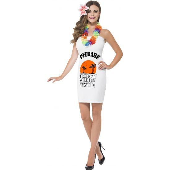 Wit dames jurkje peekabu. Sexy wit strapless dames jurkje met drank label en de tekst: peekabu. Dit witte dames kostuum wordt geleverd met bloem voor in het haar. Carnavalskleding 2015 #carnaval