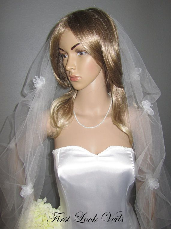 White Wedding Veil Waltz Bridal Veil Floral Pick Up Viel White Flower Veil Glass Pearl Bling