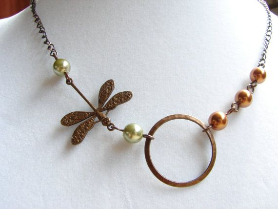 Free Shipping Simply Dragonfly in Nature Necklace by pearlandwater, $25.00