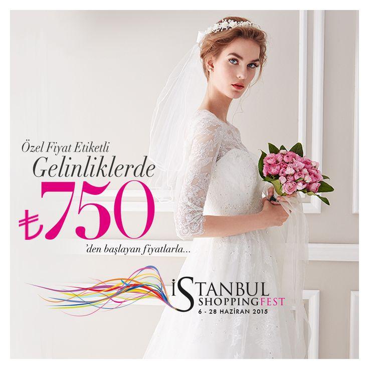 Istanbul Shopping Fest süresince, 6 – 28 Haziran 2015 tarihleri arasında, Oleg Cassini'de özel etiketli gelinlikler 750 TL'den başlayan fiyatlarla sizleri bekliyor!