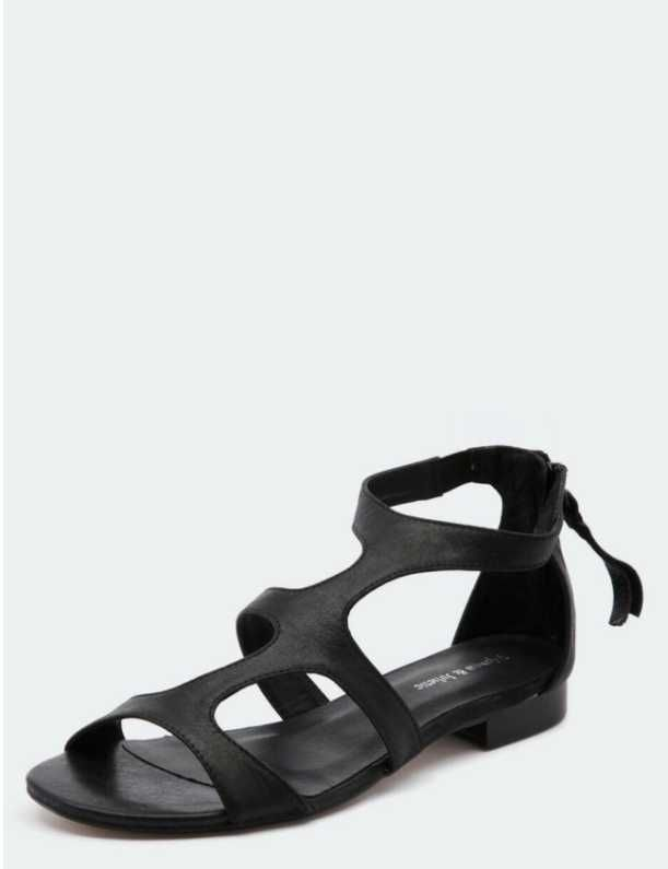 Comfortable Black Leather #Strappy #Flat #Sandals by Django & Juliette are Low in stature, but high on #trend!  $149.95
