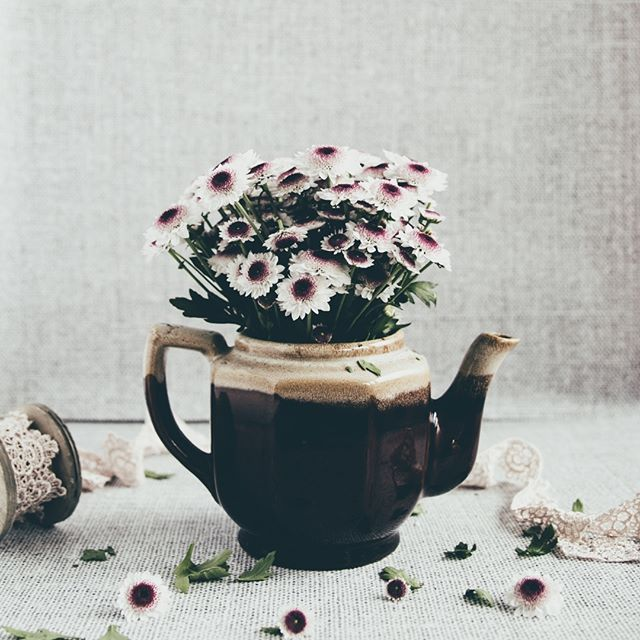Flowers and teapots... a good mix I think especially with this linen backdrops from our webshop @minibackdrops