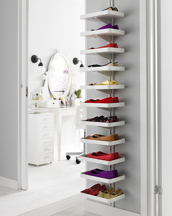 Too many shoes, not enough storage space? Put your shoes on display with an adaptable wall unit like the ALGOT system! Click for more ideas for storage around your home.