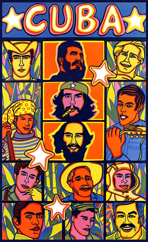 Cuba Poster, Vintage, Cuban Leaders and Heroes, Pop Art, Che Guevara, Fidel Castro