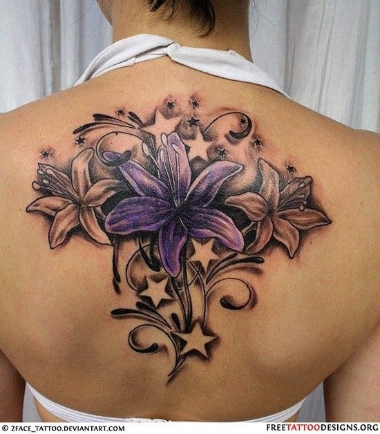 25 best ideas about lily tattoo design on pinterest for Back mural tattoo designs