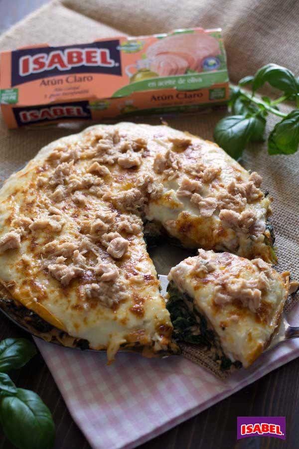 Lasaña de crepes con Atún Claro y espinacas , Receta de lasaña de crepes, espinacas y Atún Claro Isabel. Receta en vídeo. Cenas fáciles, lasaña de crepes con espinacas y atún.