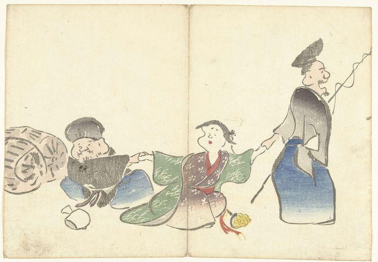 Nakamura Hôchû | Twee geluksgoden en een tempeldanseres, Nakamura Hôchû, Izumiya Shojiro, 1826 | Twee mannen en een vrouw de handen vasthoudend; voorop de god Ebisu met een hengel, gevolgd door een tempeldanseres, waarachter de god Daikoku met rijstzakken op de achtergrond en een geldzakje op de voorgrond.