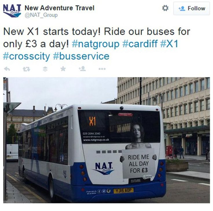 """Sexistische Bus-Werbung in Cardiff: """"Ride me all day"""""""