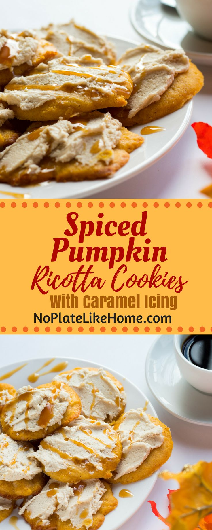 Spiced Pumpkin Ricotta Cookies with Caramel Icing are easy-to-make, moist, and flavorful ricotta cookies that taste great with coffee. A perfect Fall, Halloween or Thanksgiving dessert. Celebrate Pumpkin season! Pin for later. #yummy #delicious #foodie
