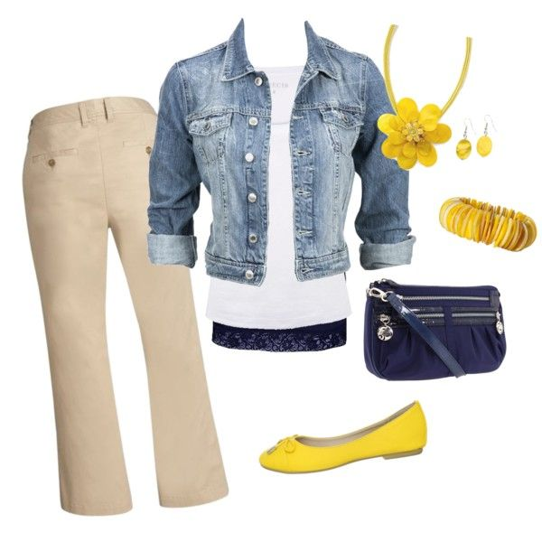 Outfit: Clowens9, Casual Friday, Jeans Jackets, Blue Yellow, Bright Yellow, Denim Outfits, Yellow Accessories, Comfy Outfits, Casual Spring Outfits