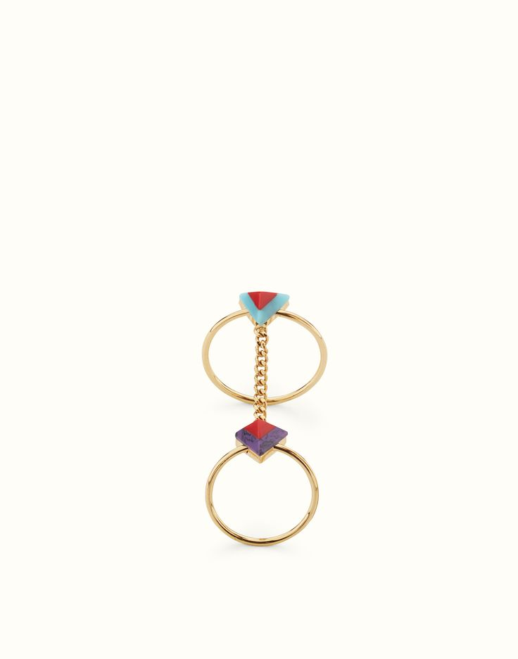 FENDI ANELLO RAINBOW - Doppio anello Rainbow in metallo con pietre - vista 1 zoom