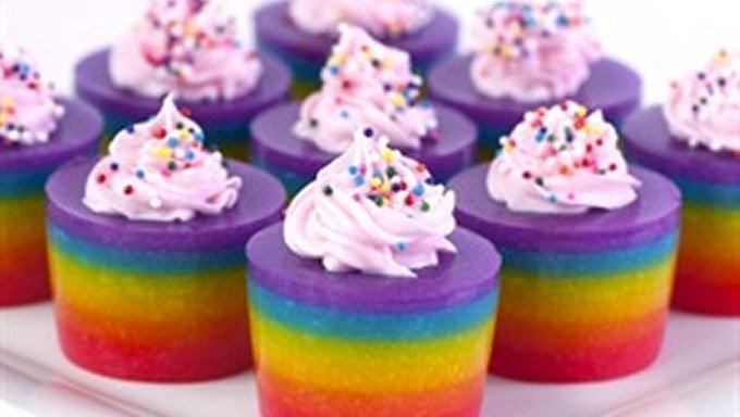 Double Rainbow Cake Jelly Shot | Treats | Pinterest