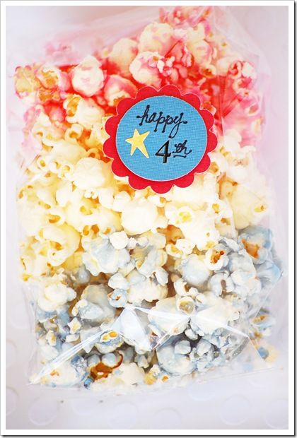 4th of July Popcorn. I love giving gifts that are homemade. Ask Cristi (and her friendship bracelets). I like this cute snack gift for when you are watching those fireworks on July 4!