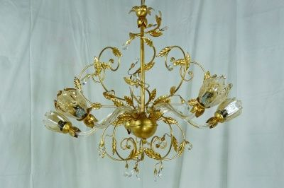 CHANDELIER GOLD LEAF WITH 5 LED LIGHTS CRYSTAL GLASS MURANO  HANDMADE art.L15