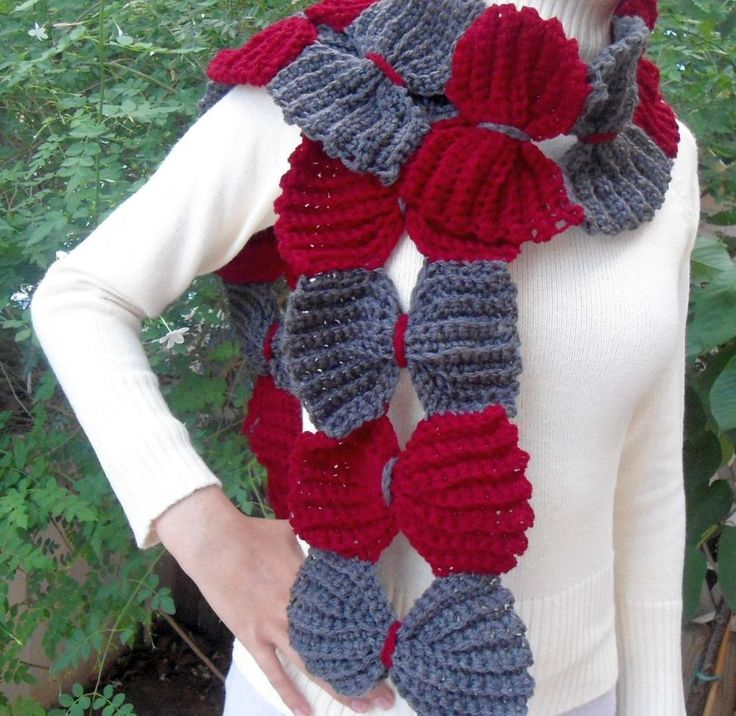 Hand knitted soft and chunky scarf with big bows