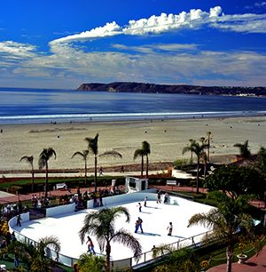 Hotel Del Coronado - Ice Skating on the Beach Until January 3, the rink is open daily 2–5 and 6–9, Coronado, Ca, San Diego