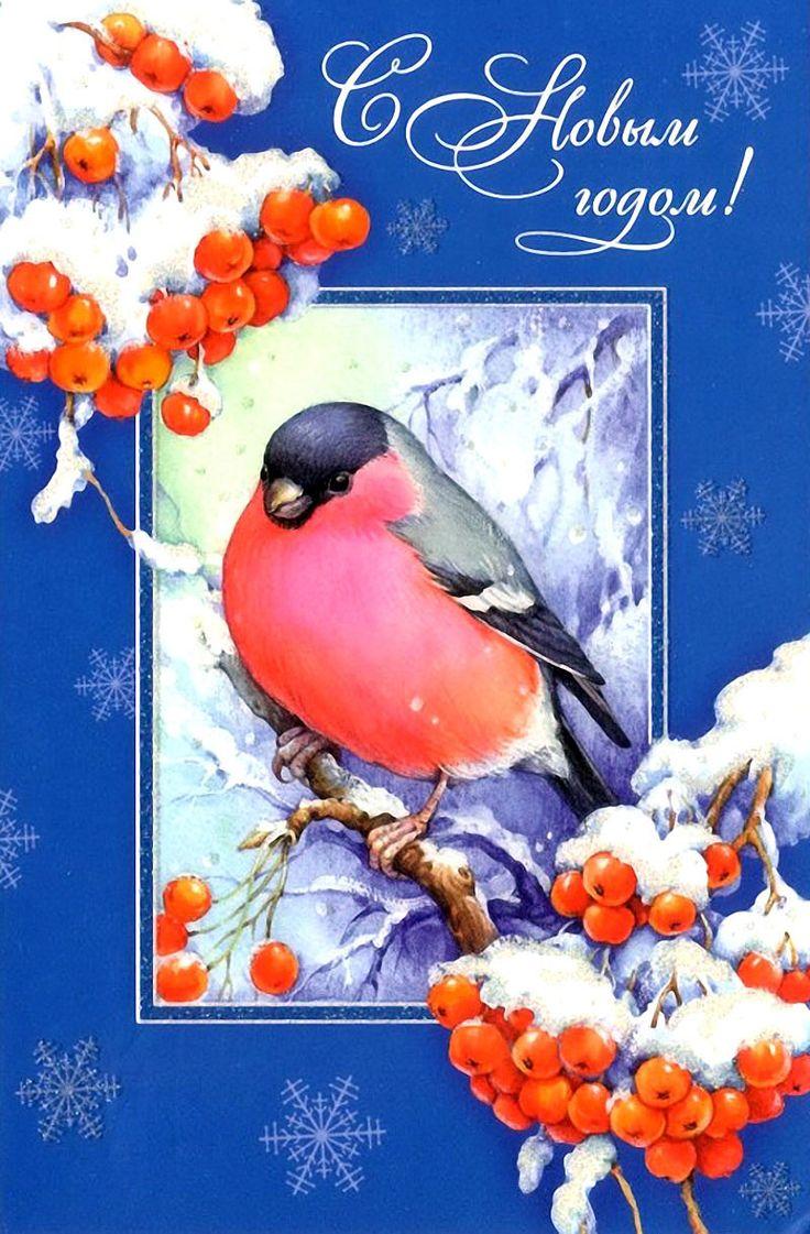 Новогодняя открытка с снегирями